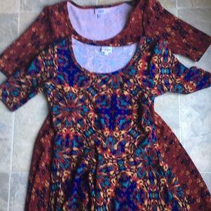 2 Lularoe fit & flare size large Nicole dresses